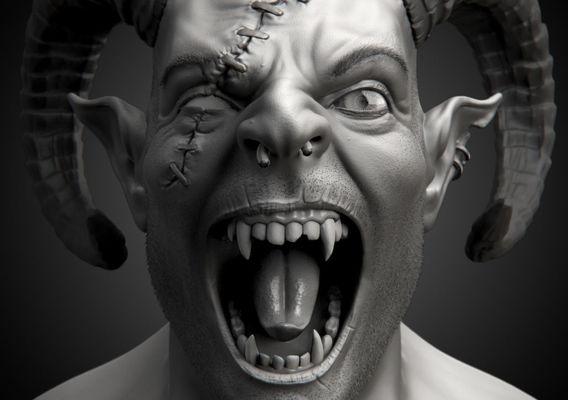 Demon Head Sculpt