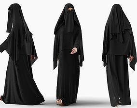 Woman wearing Saudi Arabian hidshab posed walking 3D