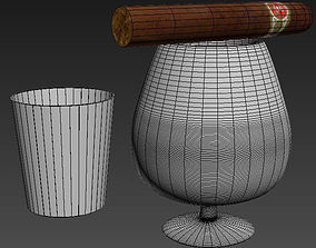 3D model dining-room-houseware Whiskey glasses and cigar