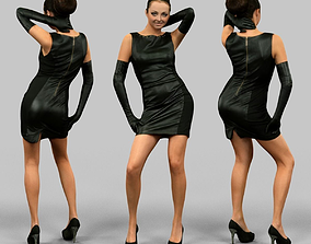 3D asset Girl in Leather dress and gloves