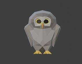 3D asset owl low-poly