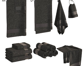 3D model Black Towels Set