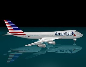 American Airlines 747-123 New logo 3D model