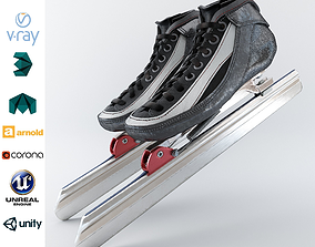 3D asset Leather Long Track Speed Skate