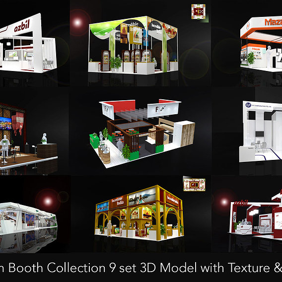 Exhibiton Booth Collection 9 set 3D Model with Texture & Lighting