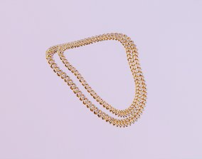 Diamond and Gold Cuban Link Chain - Size Small 3D asset 1
