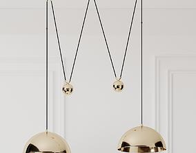 3D model Florian Schulz Double Posa Brass Pendant Lamp