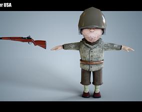 Mini Soldier USA 3D asset