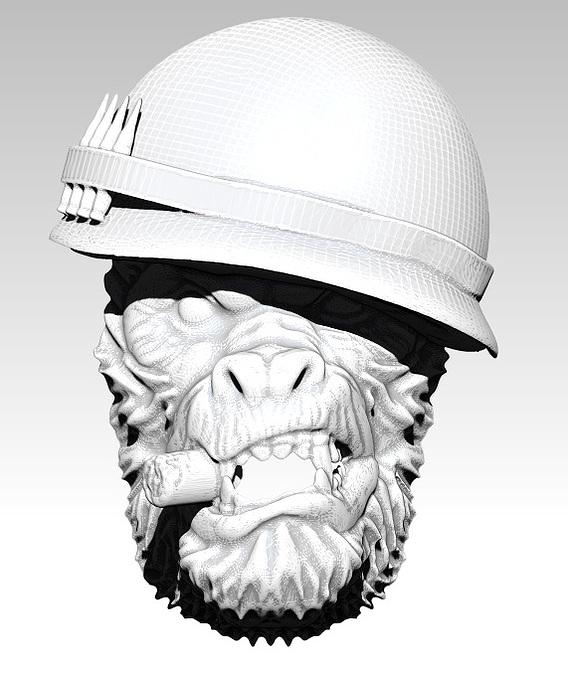 Monkey Gorilas King Soldier Warrior Jewelry Pendant [ 3d printable ]