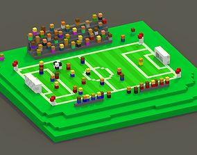 3D model VR / AR ready Soccer Voxel Scene