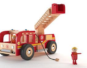 3D asset Fireman Truck Wood Toy - Camion de pompiers en 2