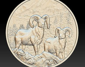 Rams in the Mountains Coin - relief - 2020 3D print model