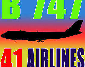 3D 41 Airline Textures For Boeing