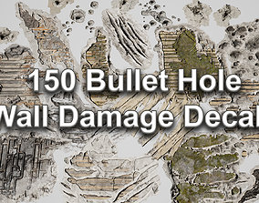3D PBR 150 Bullet Hole Wall Damage Decals