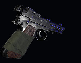 3D model post apocalyptic 9mm pistol