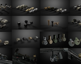 Weapon attachments pack 3D model realtime