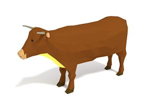 3D asset realtime Low Poly Cartoon Cow