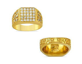Gents Diamond Nugget Ring 26 3D printable model