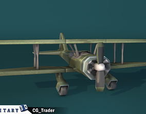 lowpoly military biplane aircraft cartoon 3d low-poly