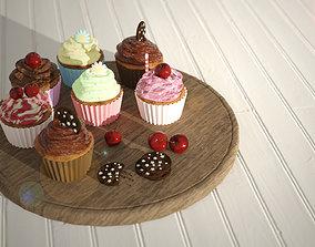 Cupcake - chocolate cherry cream 3D asset