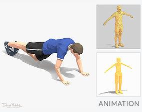3D model Grasshoper PushUps Exercise Man Animation