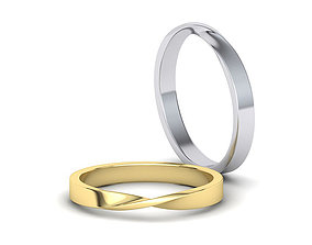 Mobius Wedding Ring 3mm wide band 3dmodel