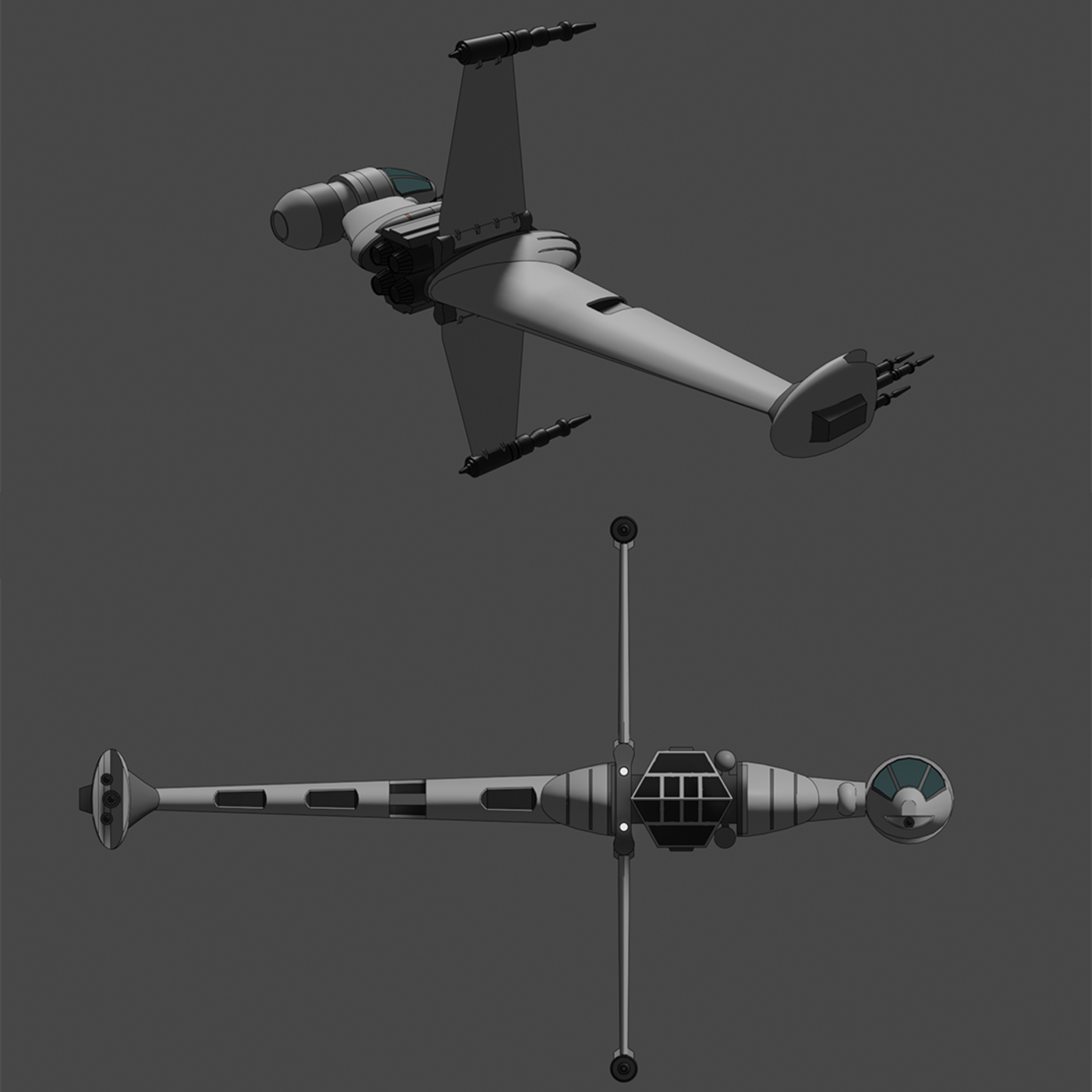 A/SF-01 B-wing starfighter - Star Wars - Fan Art