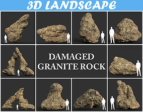 3D Low poly Damaged Granite Rock Pack A 200101