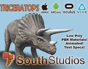 Animated Dinosaur Triceratops AR VR Unity 3dsmax animated