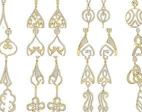 100 Women Ladies Bridal long earrings 3dm stl render
