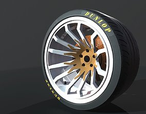 Wheel for supercars with Dunlop tire 3D asset