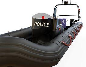3D asset Zodiac police boat