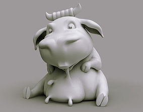 Cute cow drinks milk 3D print model