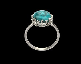 jewel Women ring with cabochon 3dm stl vintage