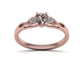 Delicate Engagement ring oval stone 3D printable model 1