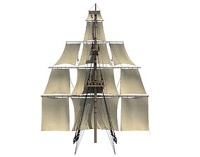 White Sailing Ship Mast 3D
