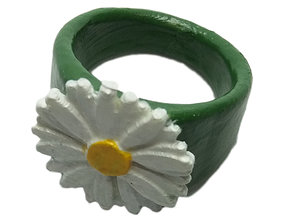3D printable model Ring with embossed daisy