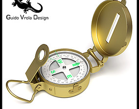 3D model Professional brass compass