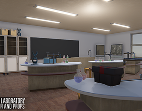 School laboratory - interior and props 3D asset
