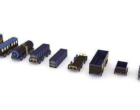 3D model Low-Poly Cartoon Train Pack
