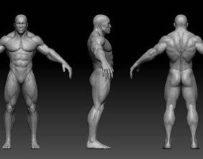 Muscular male body 3D asset
