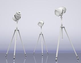Tripod Floor Lamp 3D model game-ready