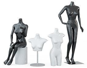 3D model Four female mannequins 64