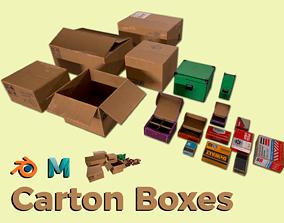 Carton Boxes 3D asset low-poly PBR