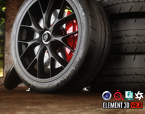 Sport Car Wheels Tesla Michelin 3D asset