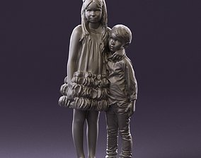 Little girl in pink and little boy in 3D printable model 3