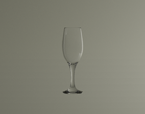 Empty champagne glass household 3D model
