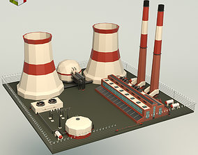 Low Poly Power Plant 3D asset realtime