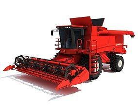 3D model Red Combine Harvester