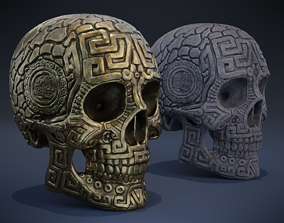 Aztec Skull 3D asset